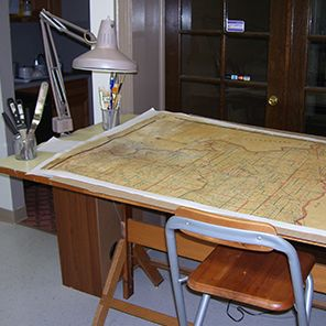 map on a restoration bench