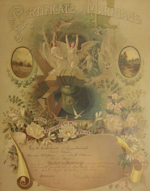 Marriage Certificate, patched and mounted, filled and retouched, pressed, conserved